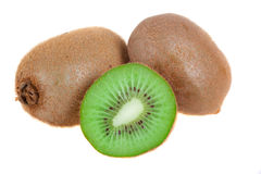 Ripe kiwi fruits with half Stock Photo