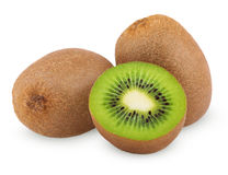 Ripe kiwi fruits with half Stock Image