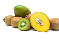 Ripe kiwi and mango on a white background Stock Image