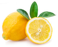 Ripe lemon fruits on a white background. stock images