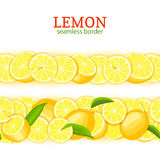 Ripe lemon horizontal seamless borders. Vector illustration card Wide and narrow endless strip with Juicy yellow lime Stock Photos