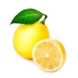 Ripe lemon with leaf Stock Photo