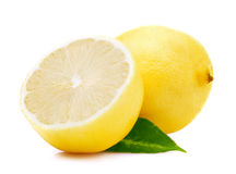 Ripe lemon with leaf. Stock Photography