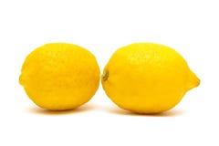 Ripe lemons isolated on white background close-up Stock Photos