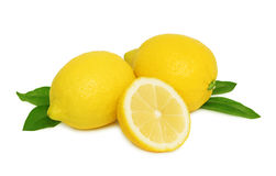 Ripe lemons with leaves () Stock Images