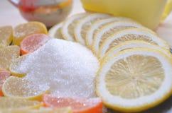 Ripe lemons on wooden vintage background. Healthy vegetarian food. royalty free stock photo