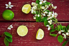 Ripe lime. And branches with flowers on the old wooden background. top view. healthy fruit from his garden Royalty Free Stock Image