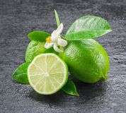 Ripe lime fruits on the gray background. Stock Photos