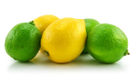 Ripe Lime and Lemon Isolated on White Stock Photography