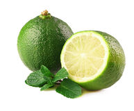 Ripe lime and mint. Stock Photos