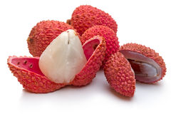 Ripe litchi on white Stock Images