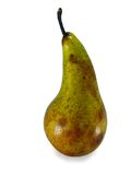 Ripe, long, juicy pear. On white background stock images