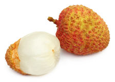 Ripe lychee with peeled one Stock Photo