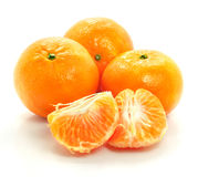 Ripe mandarin fruit isolated food on white Stock Images