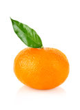 Ripe mandarin with leaf Royalty Free Stock Photos