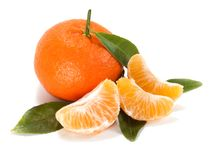 Ripe mandarin with leaves close-up Royalty Free Stock Photo