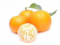 Ripe mandarin with leaves Stock Photography