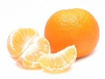 Ripe mandarin with leaves Stock Photo