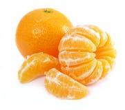 Ripe by mandarine. Orange tropic fruit isolated over white background stock images