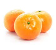 Ripe mandarine fruits isolated food on white Stock Photos