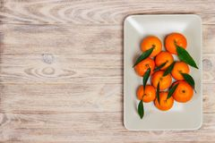 Ripe mandarine with leaves, tangerine orange on wooden table background with copy space. Citrus fruits Mandarins in plate. Top vie. W Royalty Free Stock Photo