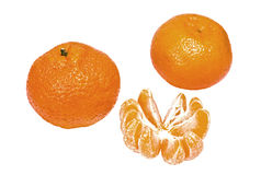 Ripe mandarines and slices isolated on white stock photography