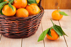 Ripe mandarins with leaves in a basket Stock Images