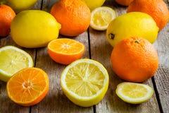 Ripe mandarins and lemons Royalty Free Stock Images