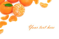 Ripe mandarins on white background (with sample text) Royalty Free Stock Photo