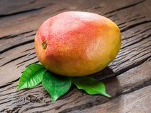 Ripe mango fruit with mango leaves on wooden background. stock image