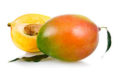 Ripe mango fruits with leaves Royalty Free Stock Images