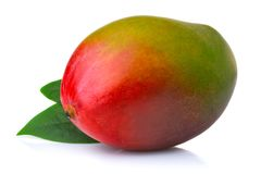 Ripe mango fruits with leaves isolated on white Royalty Free Stock Photos