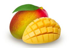 Ripe mango isolated. Ripe mango with leaf and sliced mango isolated on white background. Clipping path included royalty free stock images