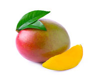 Ripe mango isolated on white. Stock Images
