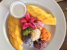Ripe mango and sticky rice in coconut milk Royalty Free Stock Images