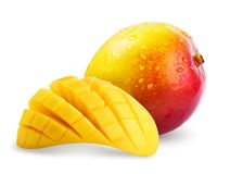 Ripe mango with water drops isolated. On white background. Clipping Path included stock photo