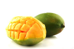 Ripe mango on white Royalty Free Stock Photo