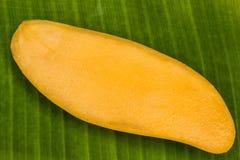 Ripe mangoes. On banana leaf stock photo Stock Photography