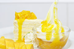 Ripe mangoes crape-cake, favourite dessert. Stock Photo