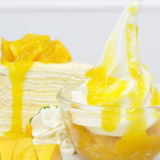 Ripe mangoes crape-cake, favourite dessert. Ripe mangoes crape-cake, favourite dessert Royalty Free Stock Photos