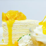 Ripe mangoes crape-cake, favourite dessert. Ripe mangoes crape-cake, favourite dessert Royalty Free Stock Image
