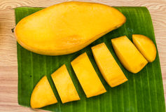 Ripe mangoes. OnBanana leaf stock photo Royalty Free Stock Images