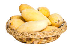 Ripe Mangoes In Rattan Basket. Royalty Free Stock Image