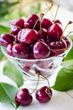 Ripe maroon cherries in a glass vase and a jar. Ripe and fresh burgundy cherries in a glass vase and a jar for healthy food and preparations for the winter Royalty Free Stock Photo