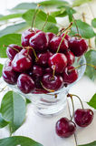Ripe maroon cherries in a glass vase and a jar. Ripe and fresh burgundy cherries in a glass vase and a jar for healthy food and preparations for the winter Royalty Free Stock Photos