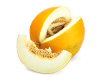 Ripe melon. With slice  on white Royalty Free Stock Photo