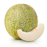 Ripe melon with slice isolated on white Royalty Free Stock Photos