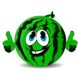 Ripe merry watermelon shows thumbs up, cartoon on white background. Stock Photos
