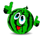 Ripe merry watermelon shows thumbs up and stuck out the tongue Royalty Free Stock Images