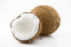 Ripe and mouth-watering coconut. Ripe and appetizing coconut isolated on white background Royalty Free Stock Photography